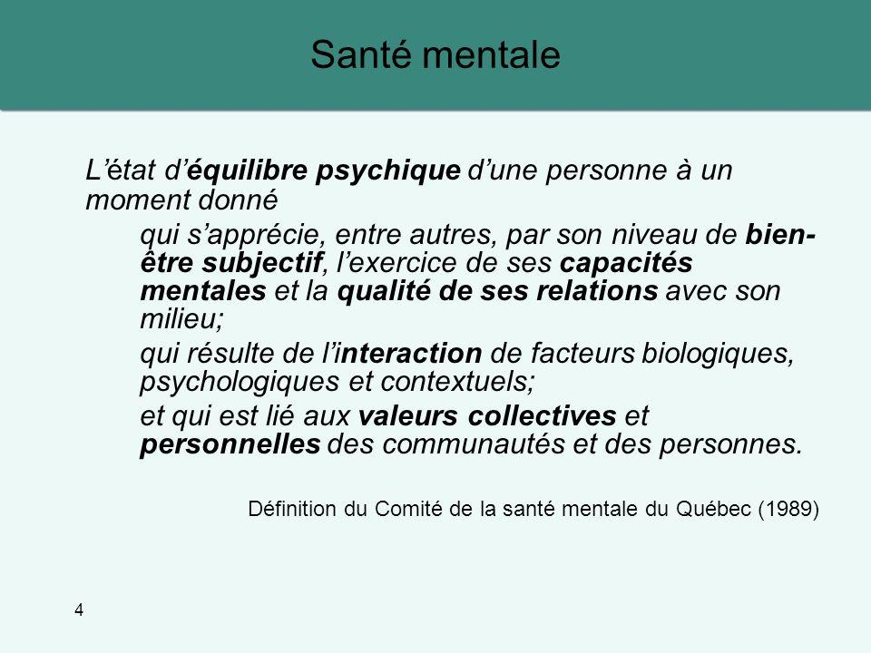 Santé mentale L'état d'équilibre psychique d'une personne à un moment donné.