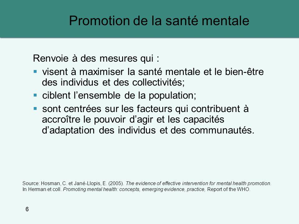 Promotion de la santé mentale