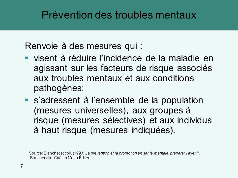 Prévention des troubles mentaux