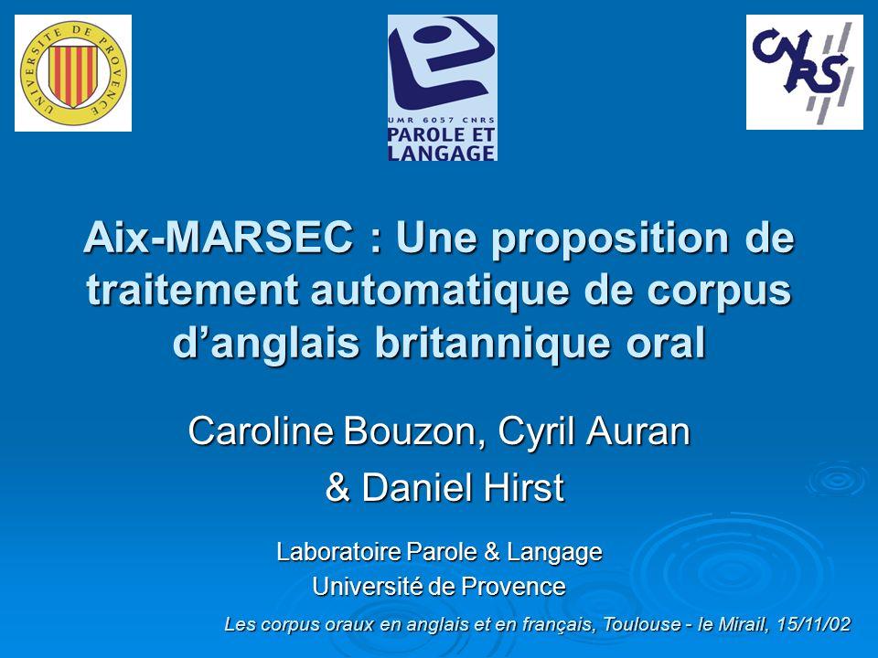Aix-MARSEC : Une proposition de traitement automatique de corpus d'anglais britannique oral