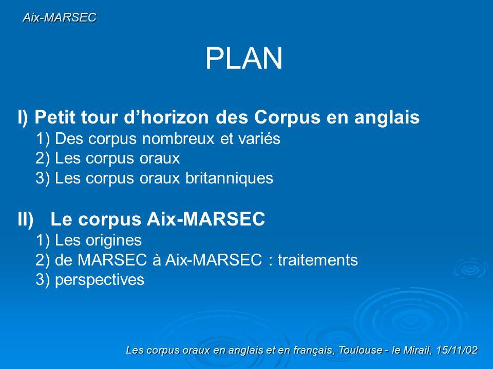 PLAN I) Petit tour d'horizon des Corpus en anglais