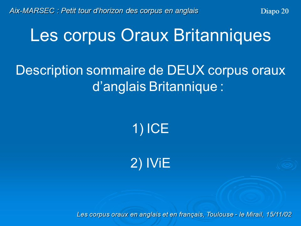 Aix-MARSEC : Petit tour d'horizon des corpus en anglais