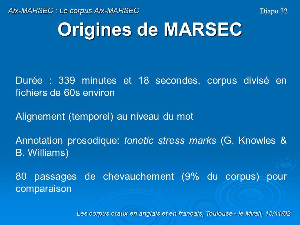 Aix-MARSEC : Le corpus Aix-MARSEC
