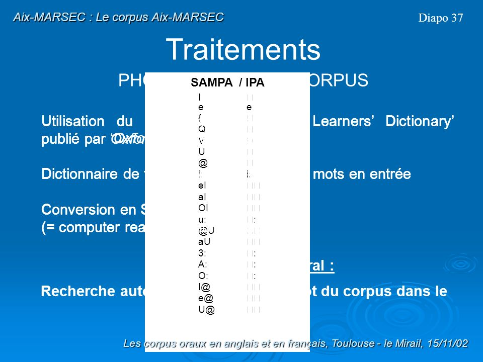Traitements PHONETISATION DU CORPUS