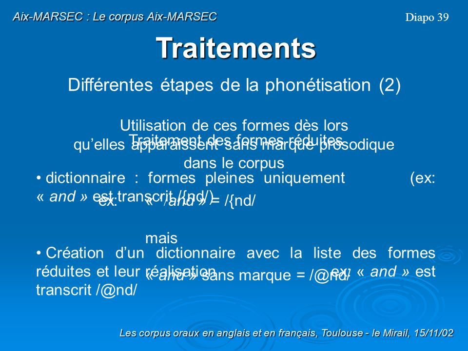 Traitements Différentes étapes de la phonétisation (2)