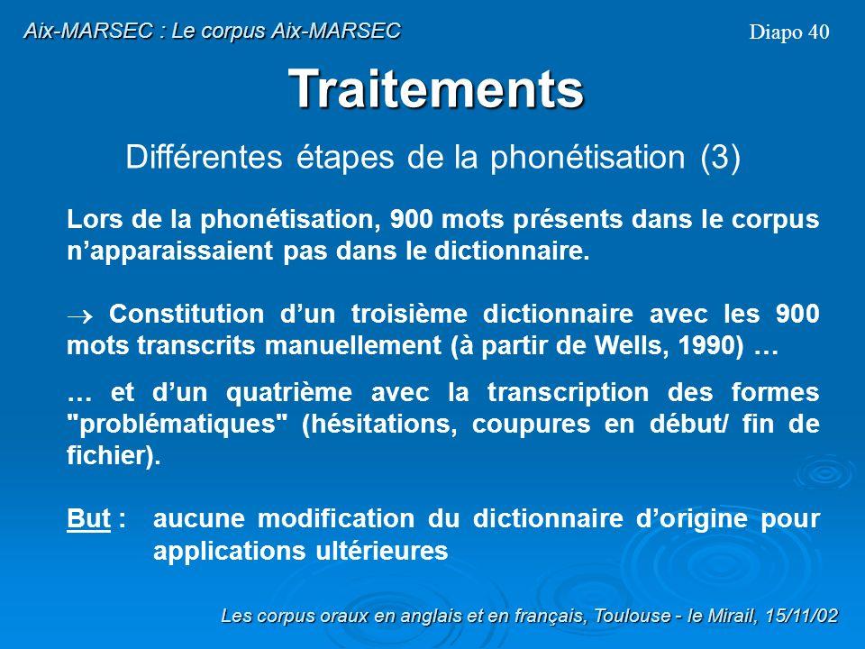 Différentes étapes de la phonétisation (3)