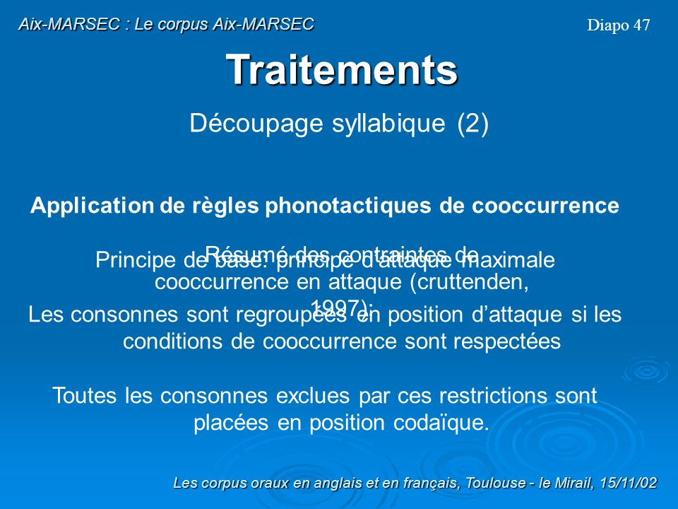 Application de règles phonotactiques de cooccurrence