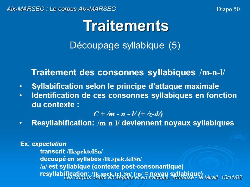 Traitement des consonnes syllabiques /m-n-l/