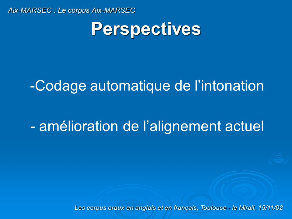 Perspectives Codage automatique de l'intonation