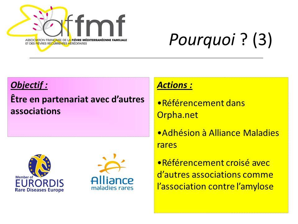 Pourquoi (3) Objectif : Être en partenariat avec d'autres associations. Actions : Référencement dans Orpha.net.