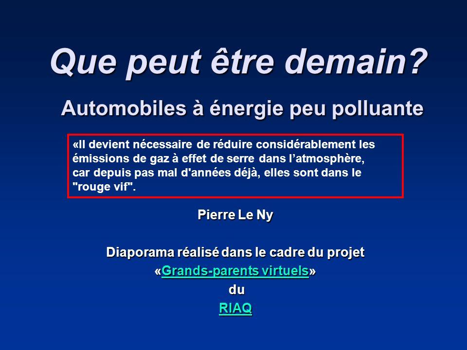 Que peut être demain Automobiles à énergie peu polluante