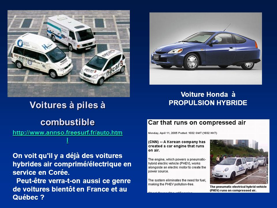 Voitures à piles à combustible http://www.annso.freesurf.fr/auto.html