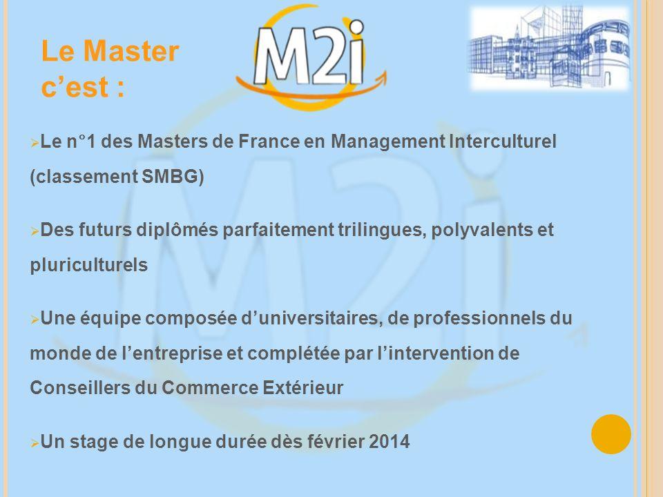 Le Master c'est : Le n°1 des Masters de France en Management Interculturel (classement SMBG)