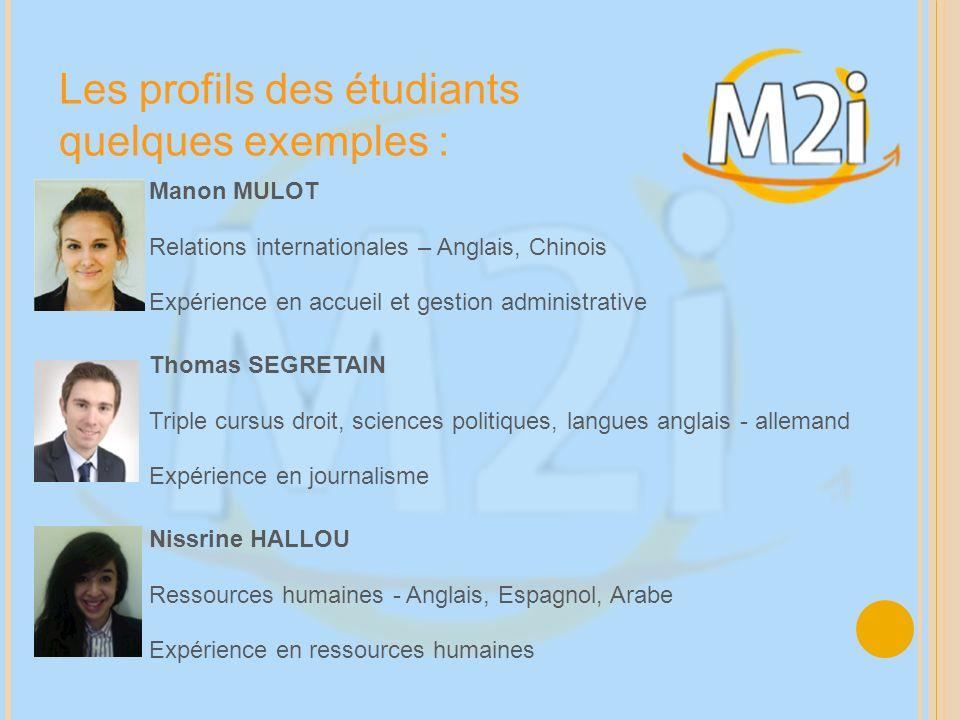 Les profils des étudiants quelques exemples :