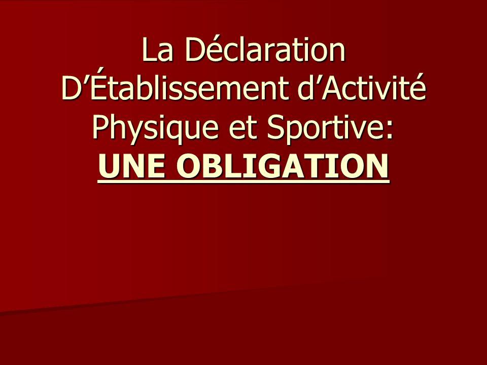 La Déclaration D'Établissement d'Activité Physique et Sportive: UNE OBLIGATION