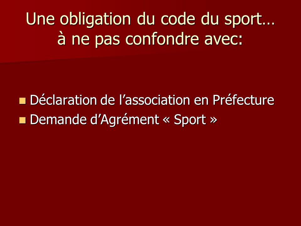 Une obligation du code du sport… à ne pas confondre avec: