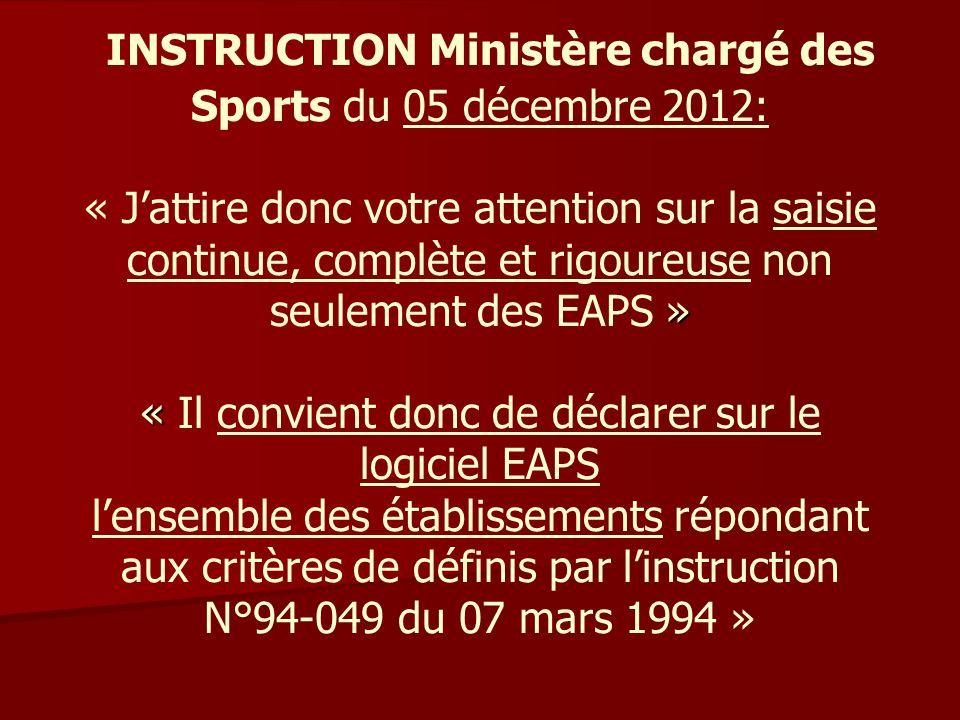 INSTRUCTION Ministère chargé des Sports du 05 décembre 2012: « J'attire donc votre attention sur la saisie continue, complète et rigoureuse non seulement des EAPS » « Il convient donc de déclarer sur le logiciel EAPS l'ensemble des établissements répondant aux critères de définis par l'instruction N°94-049 du 07 mars 1994 »