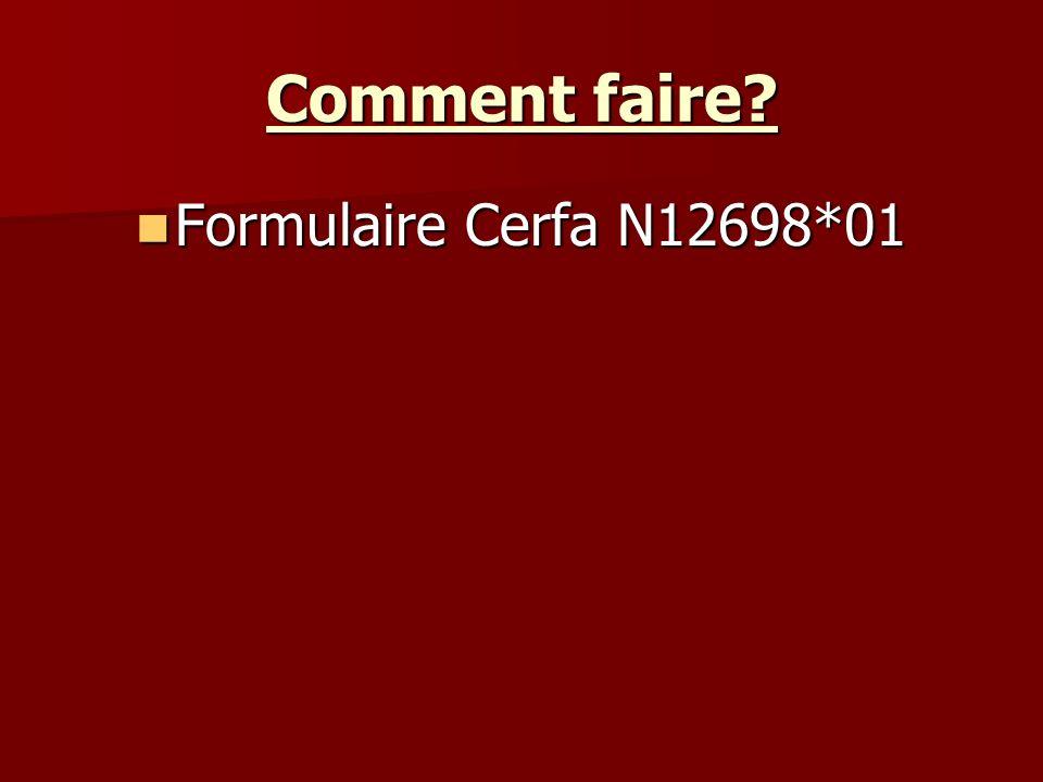 Comment faire Formulaire Cerfa N12698*01