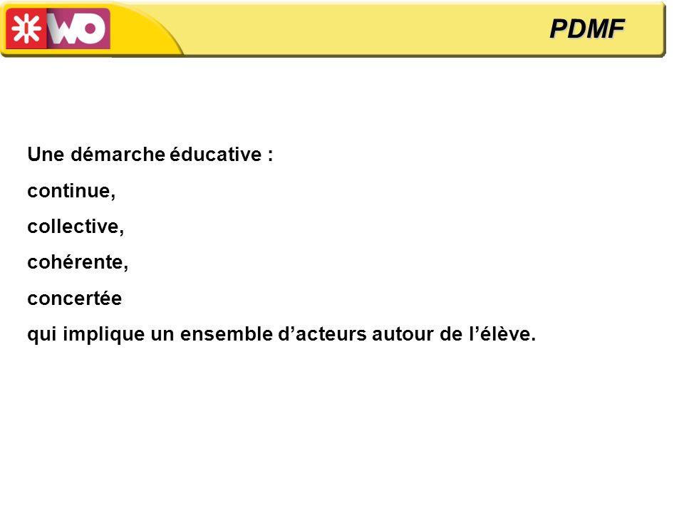 PDMF Une démarche éducative : continue, collective, cohérente,