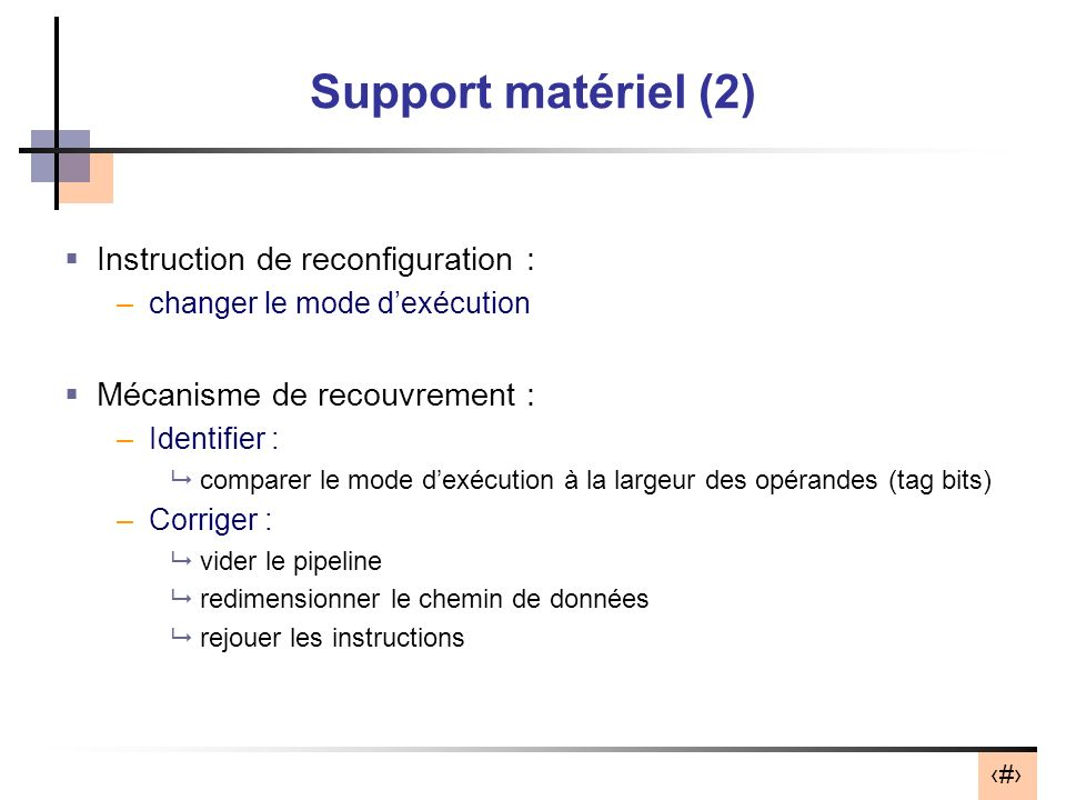 Support matériel (2) Instruction de reconfiguration :