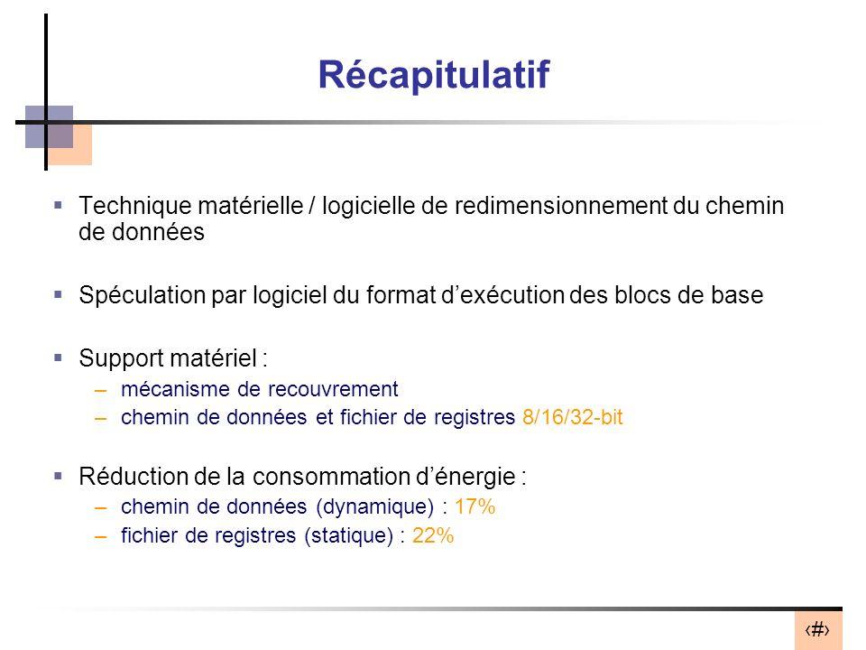 Récapitulatif Technique matérielle / logicielle de redimensionnement du chemin de données.