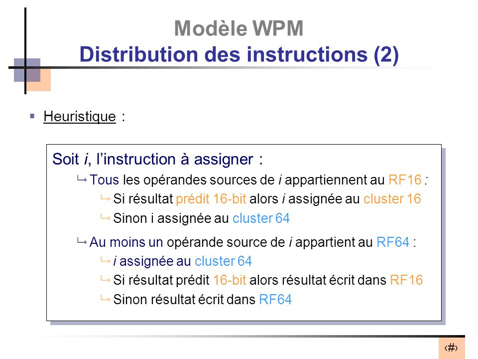 Modèle WPM Distribution des instructions (2)
