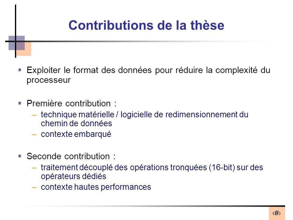 Contributions de la thèse