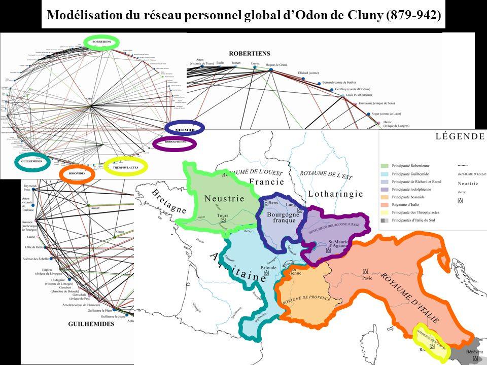 Modélisation du réseau personnel global d'Odon de Cluny (879-942)