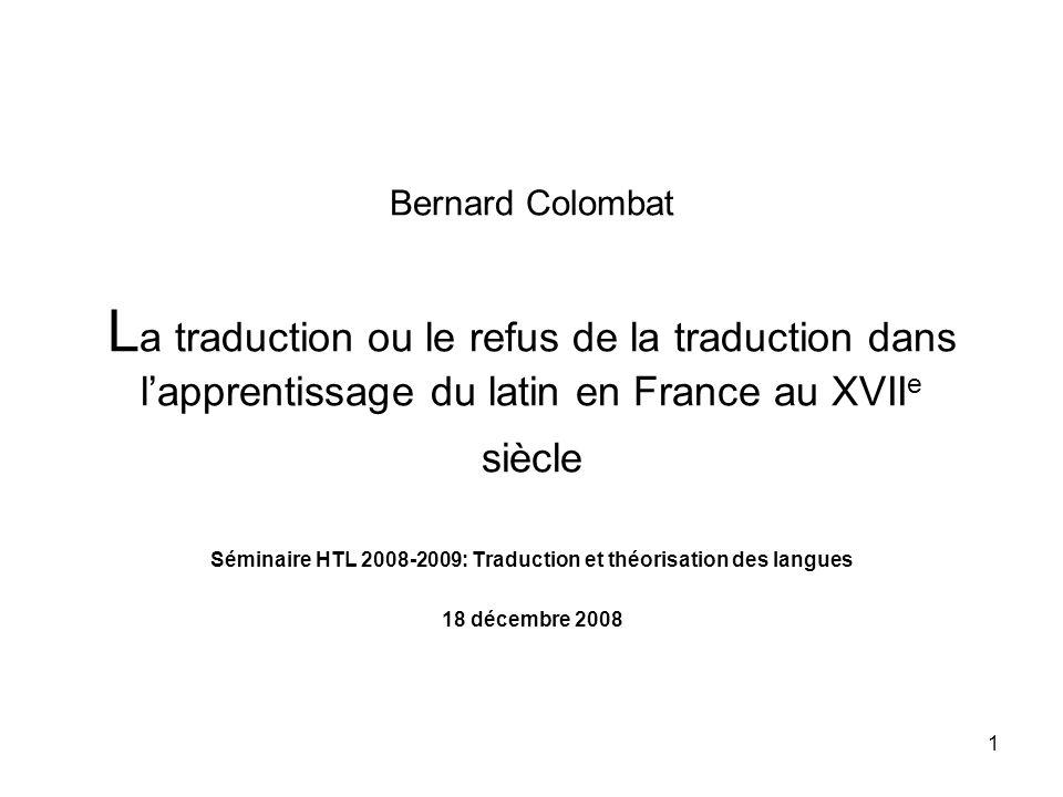 Séminaire HTL 2008-2009: Traduction et théorisation des langues