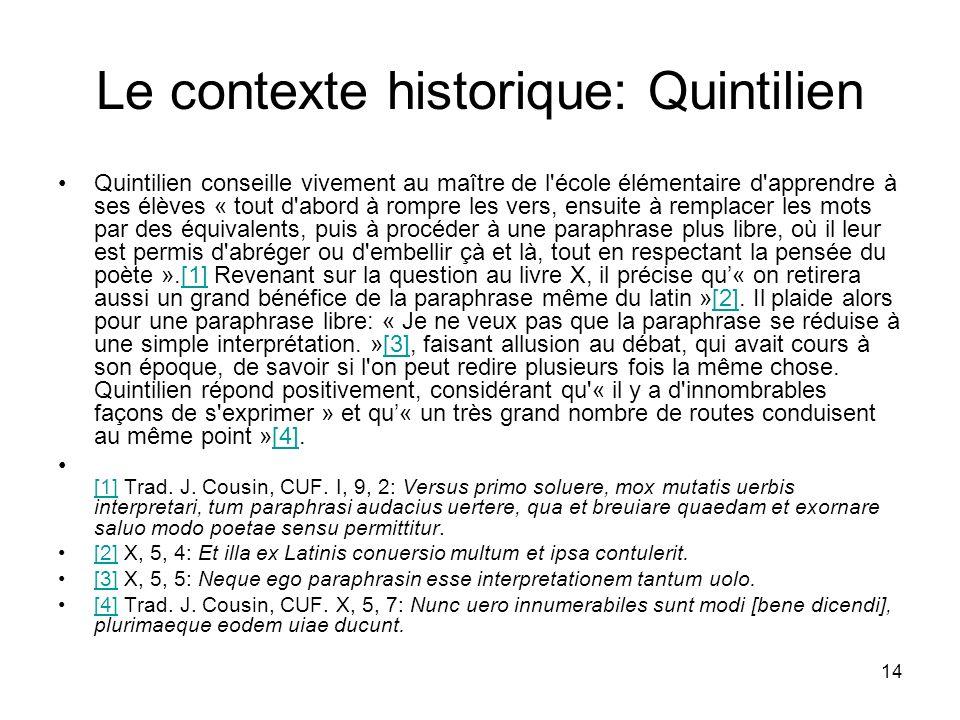 Le contexte historique: Quintilien