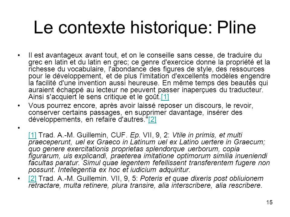 Le contexte historique: Pline