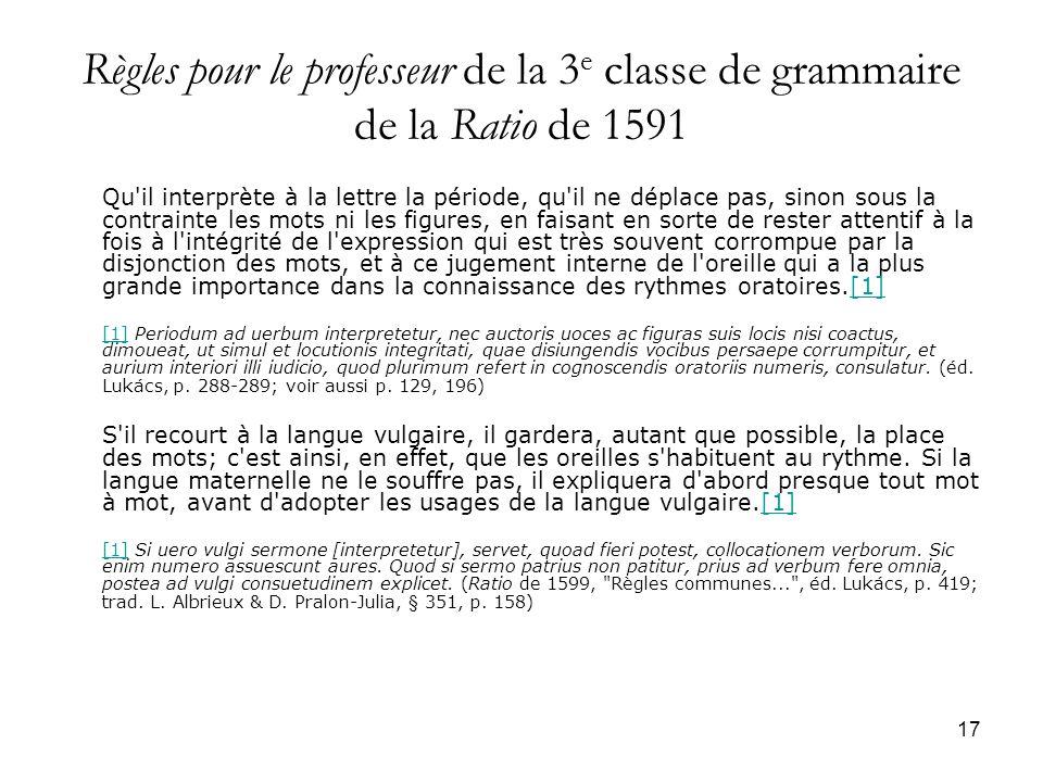 Règles pour le professeur de la 3e classe de grammaire de la Ratio de 1591