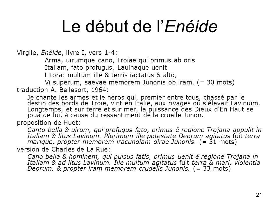 Le début de l'Enéide Virgile, Énéide, livre I, vers 1-4: