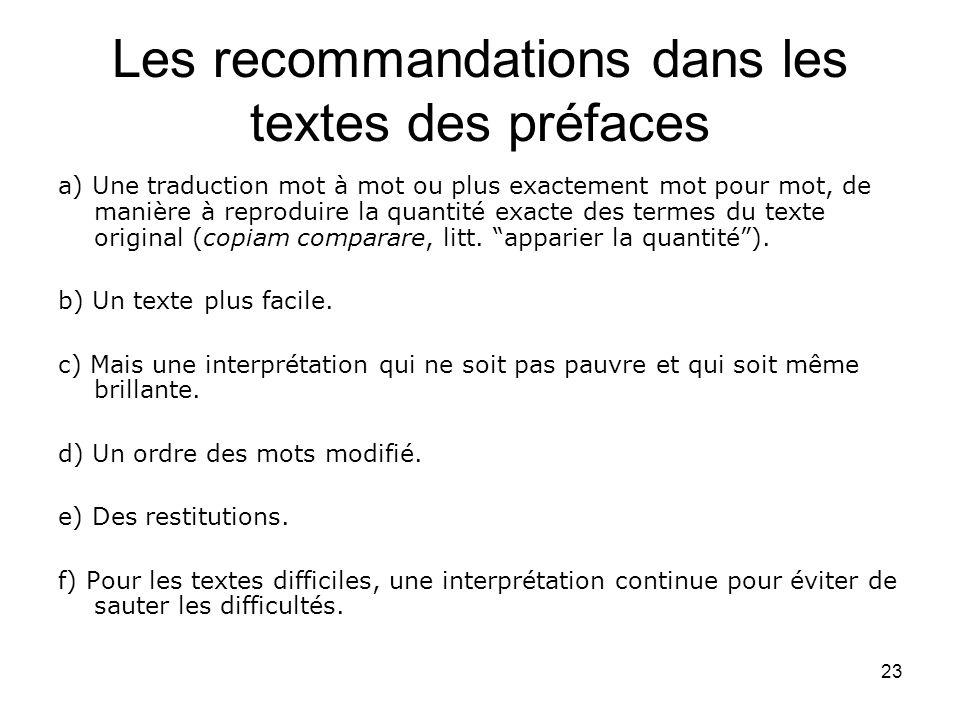 Les recommandations dans les textes des préfaces