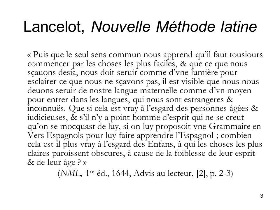 Lancelot, Nouvelle Méthode latine