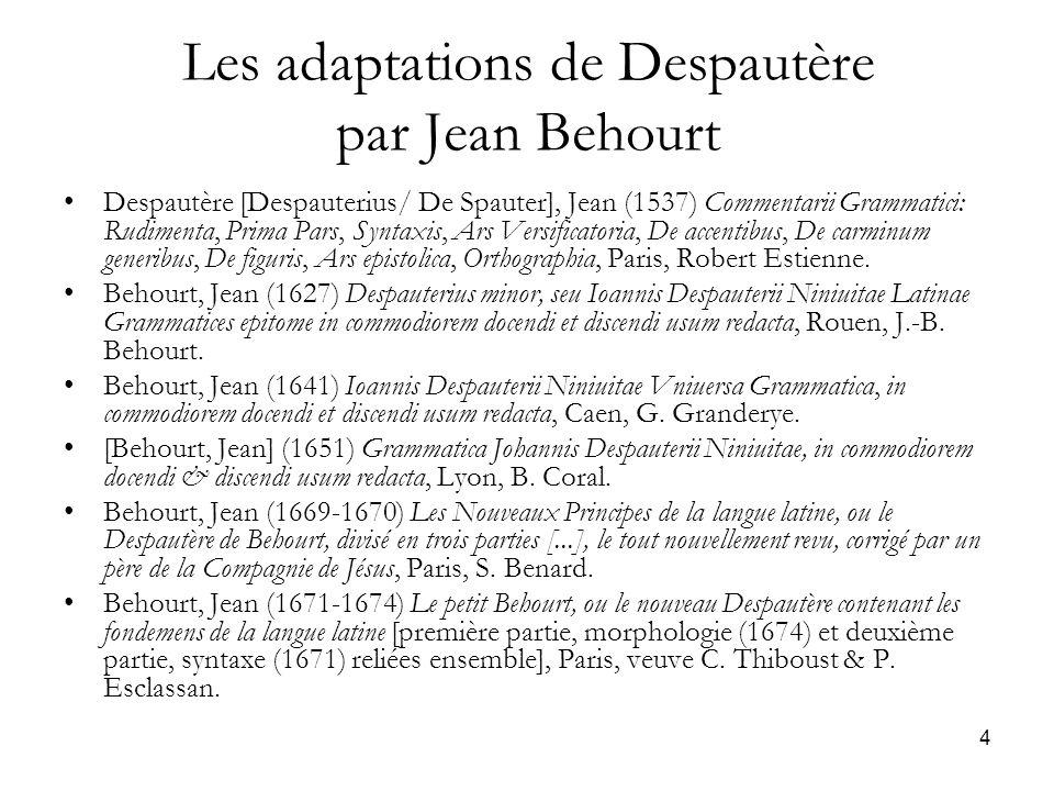 Les adaptations de Despautère par Jean Behourt