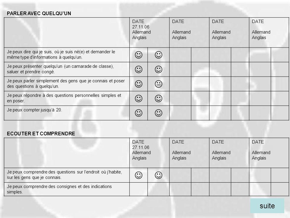    suite PARLER AVEC QUELQU'UN ECOUTER ET COMPRENDRE DATE 27.11.06