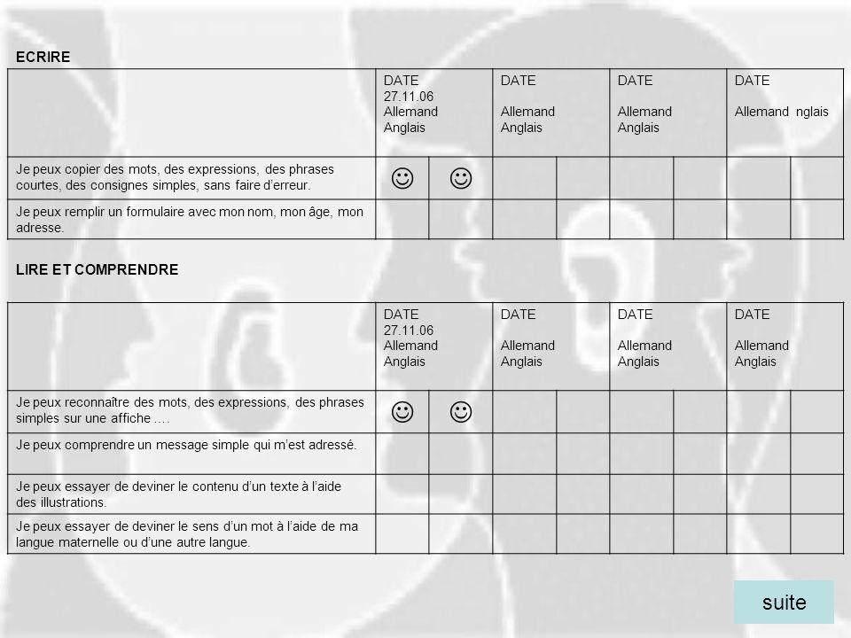   suite ECRIRE LIRE ET COMPRENDRE DATE 27.11.06 Allemand Anglais