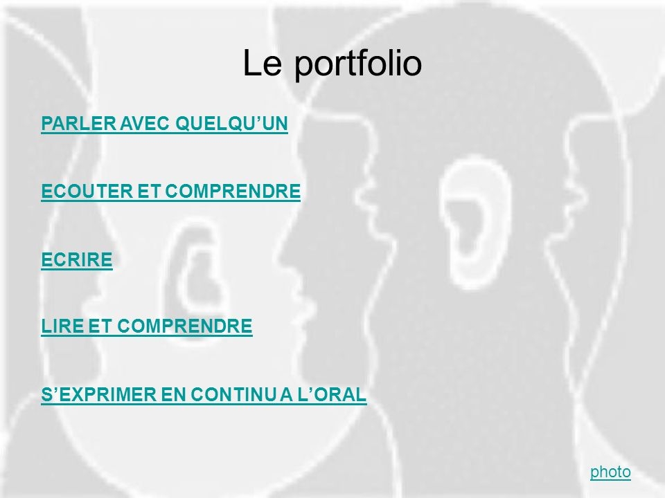 Le portfolio PARLER AVEC QUELQU'UN ECOUTER ET COMPRENDRE ECRIRE