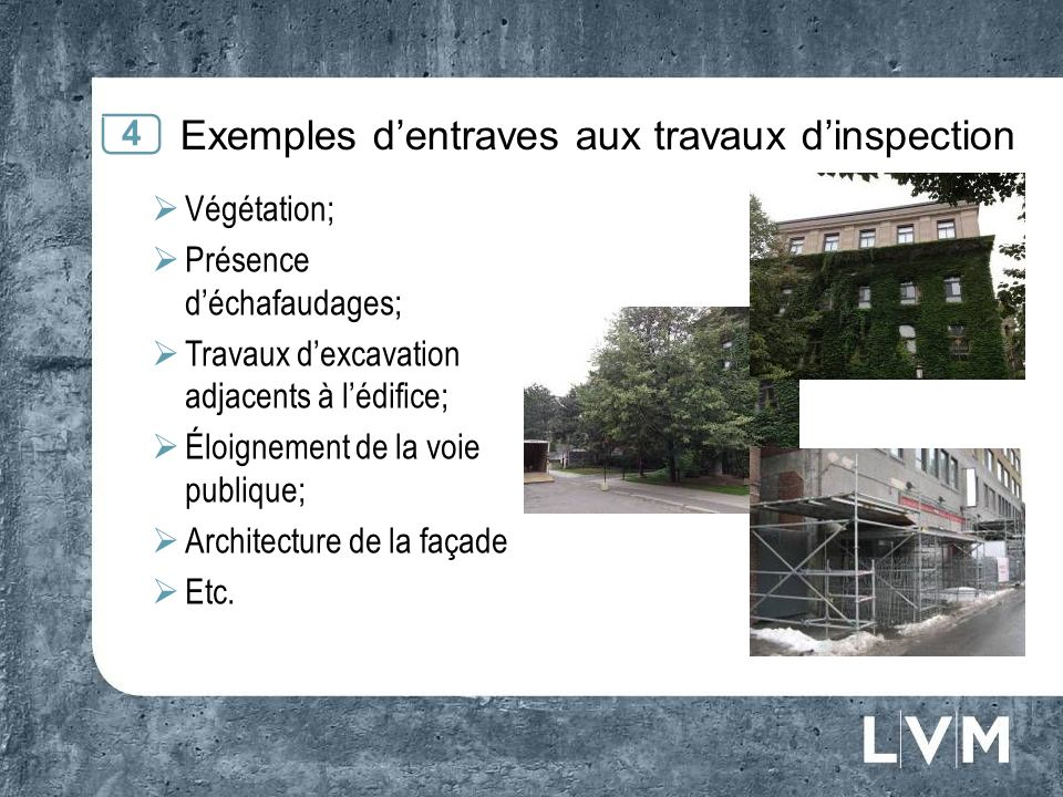 Exemples d'entraves aux travaux d'inspection
