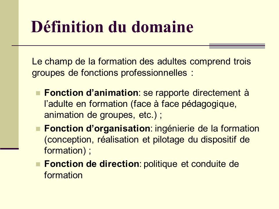 Définition du domaine Le champ de la formation des adultes comprend trois groupes de fonctions professionnelles :