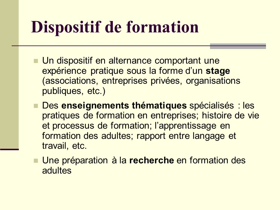 Dispositif de formation