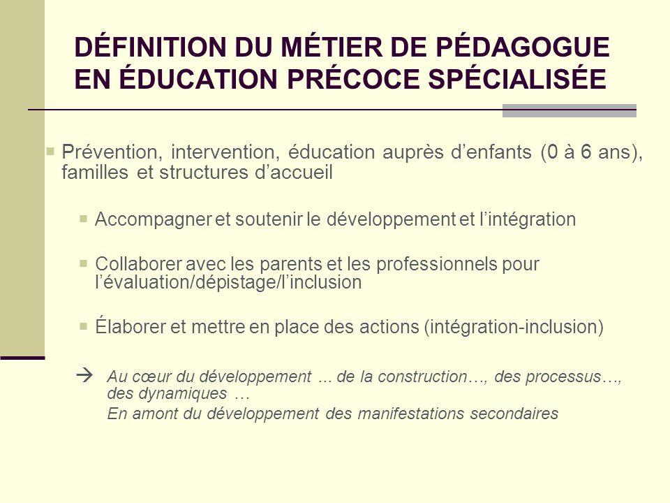 DÉFINITION DU MÉTIER DE PÉDAGOGUE EN ÉDUCATION PRÉCOCE SPÉCIALISÉE