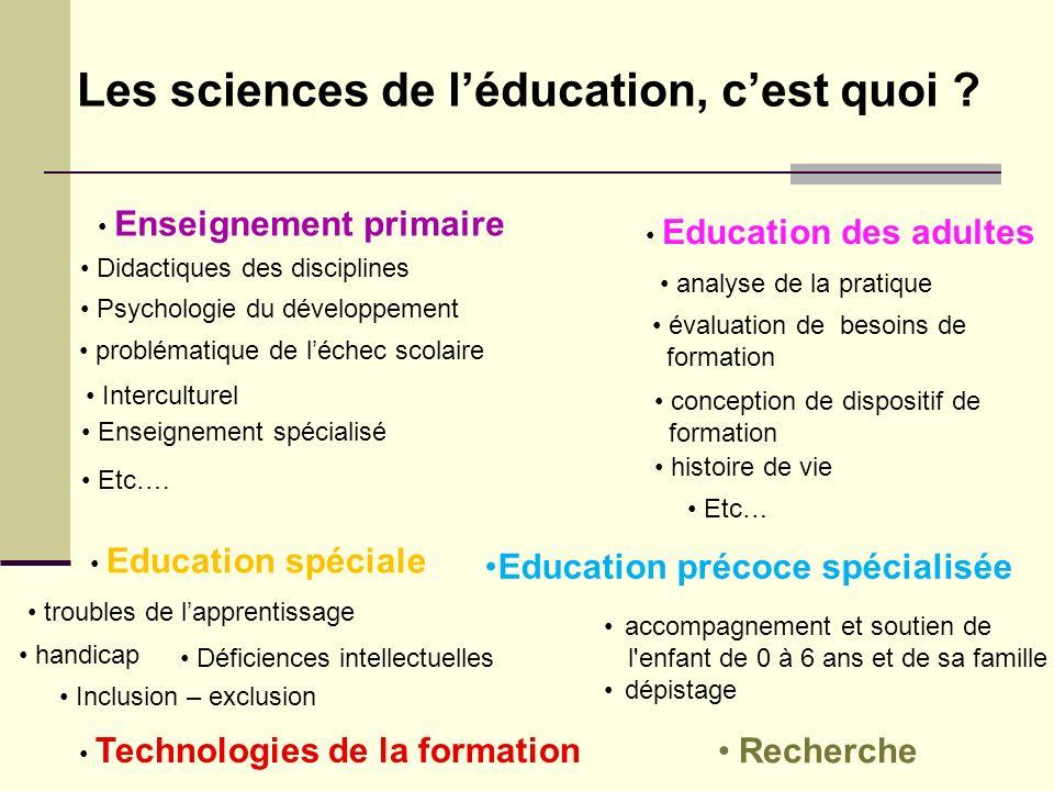 Les sciences de l'éducation, c'est quoi