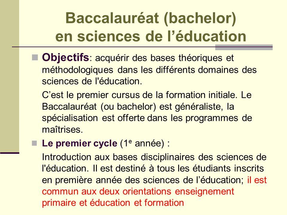 Baccalauréat (bachelor) en sciences de l'éducation