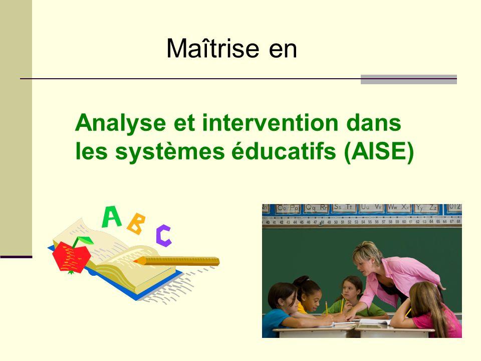 Maîtrise en Analyse et intervention dans les systèmes éducatifs (AISE)