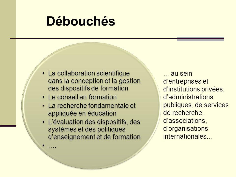 Débouchés La collaboration scientifique dans la conception et la gestion des dispositifs de formation.
