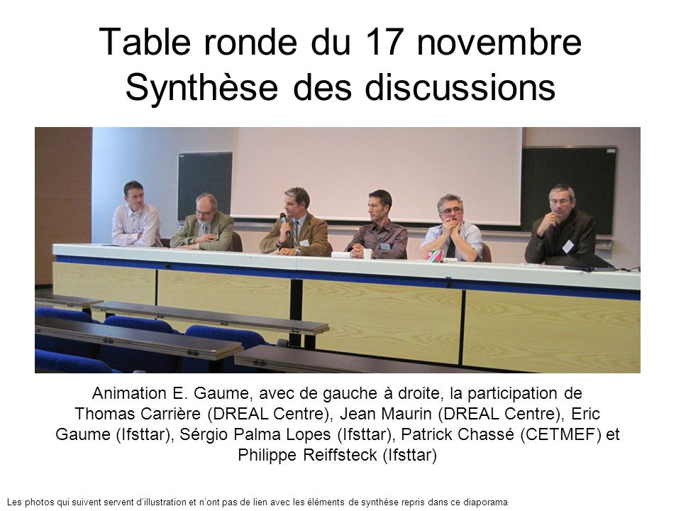 Table ronde du 17 novembre Synthèse des discussions