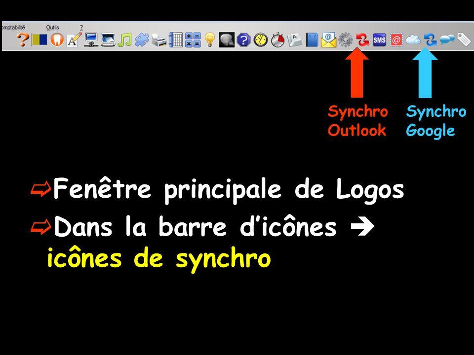 Fenêtre principale de Logos Dans la barre d'icônes  icônes de synchro