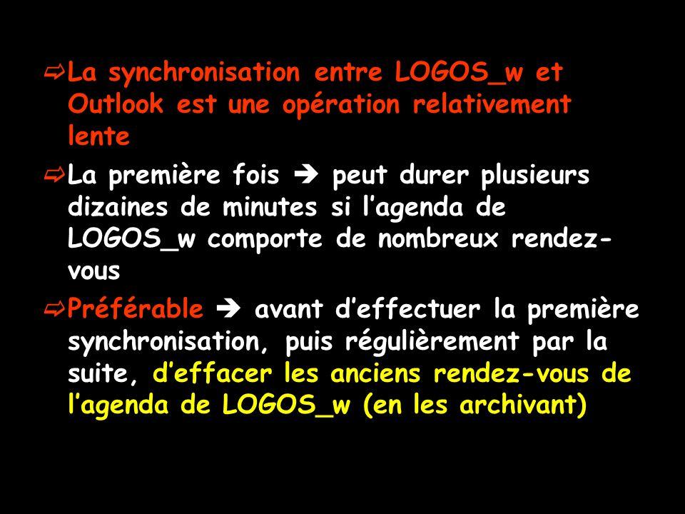 La synchronisation entre LOGOS_w et Outlook est une opération relativement lente